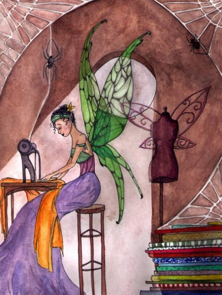 The Seamstress watercolor